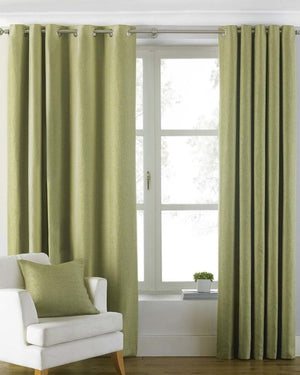 Atlantic Ready Made Lined Eyelet Curtains Green