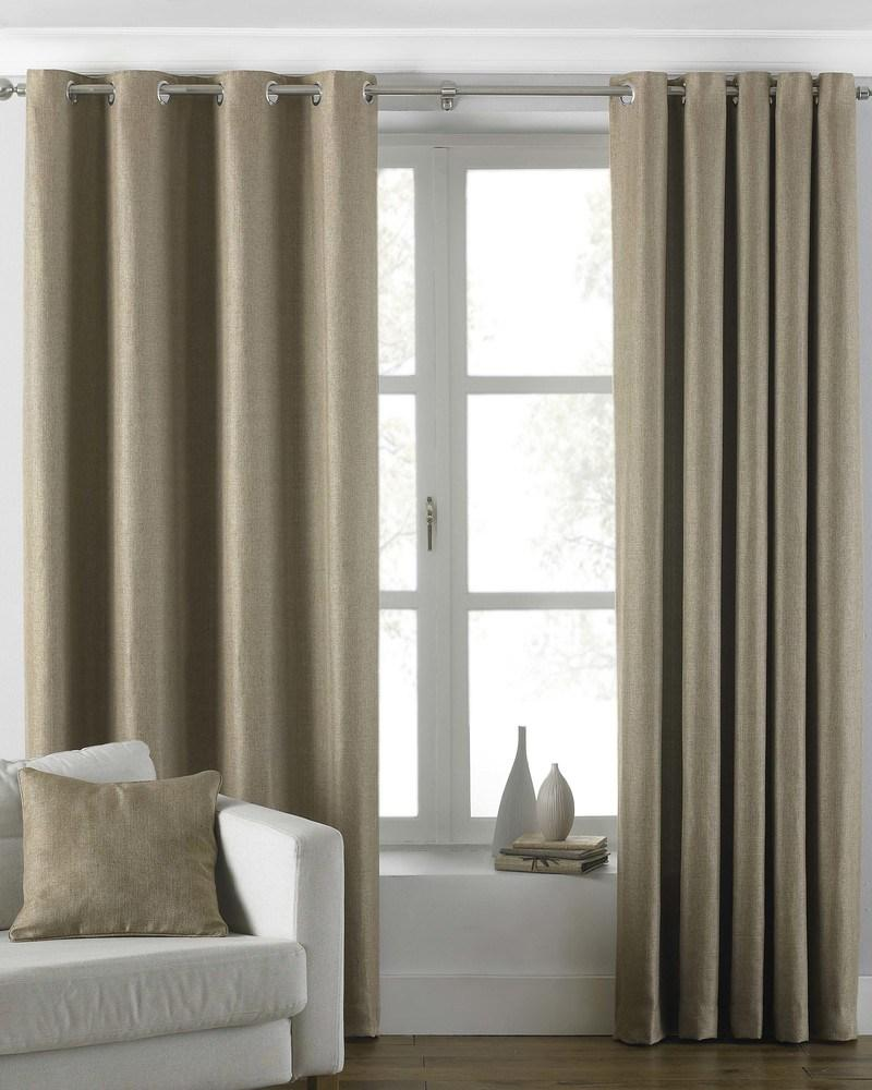 Riva Ready Made Curtains Atlantic Ready Made Lined Eyelet Curtains Latte Picture