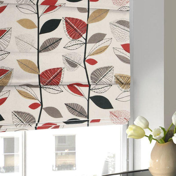 Autumn Leaves Roman Blind Red Berry