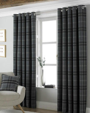 Aviemore Ready Made Lined Eyelet Curtains Grey