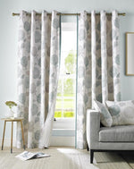 Avril Ready Made Lined Eyelet Curtains Duck Egg
