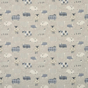 Baa Baa Curtain Fabric Charcoal