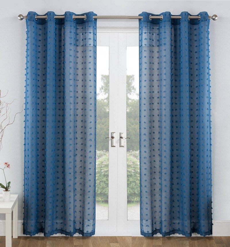 Tyrone Ready Made Curtains  Bali Voile Panel Blue
