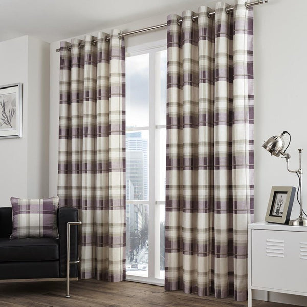 Balmoral Check Ready Made Eyelet Lined Curtains Plum