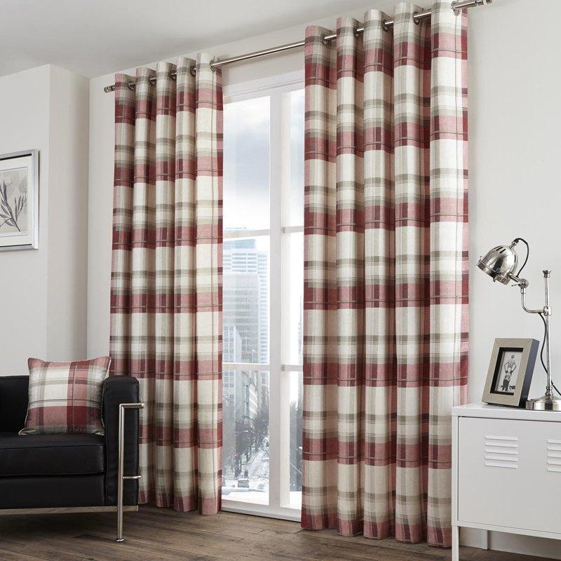 J Rosenthal Ready Made Curtains  Balmoral Check Ready Made Eyelet Lined Curtains Ruby