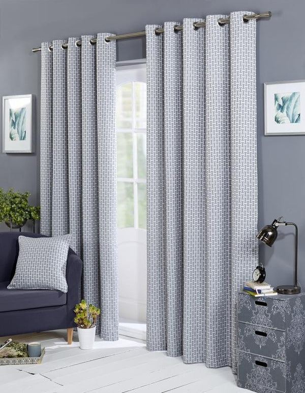 Balmoral Ready Made Lined Eyelet Curtains Silver