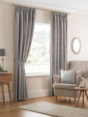 Beatrice Ready Made Lined Curtains Silver