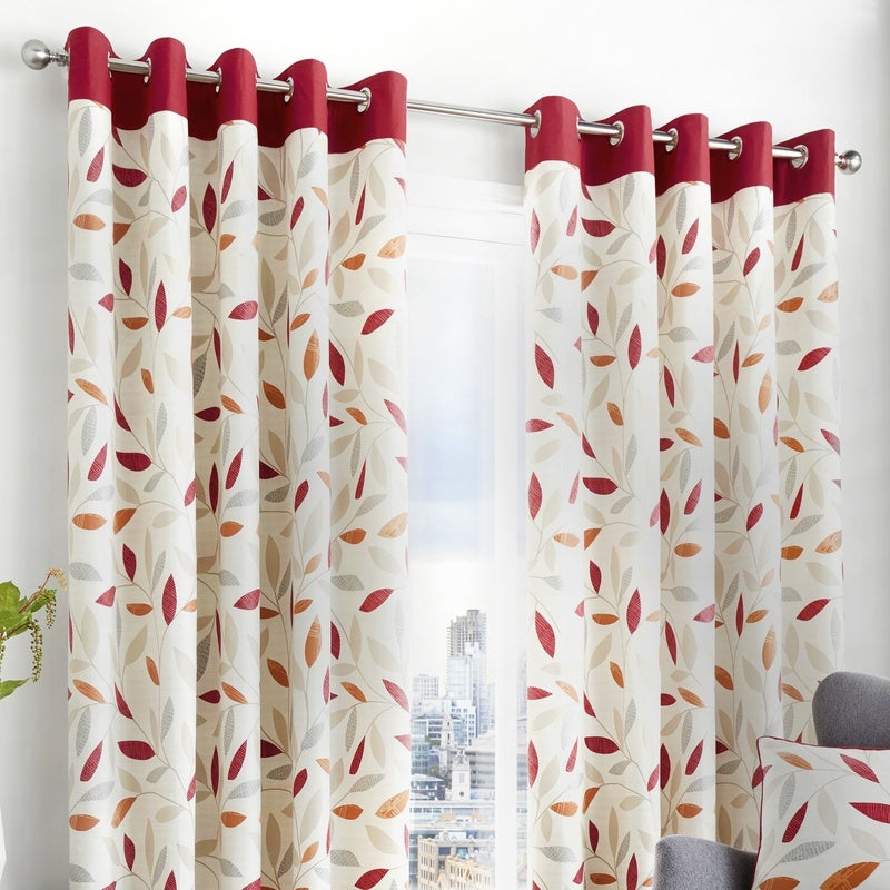 J Rosenthal Ready Made Curtains  Beechwood Ready Made Eyelet Curtains Red