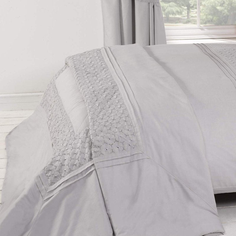 RPH Cushion And Throws Everdene Bedspread Silver