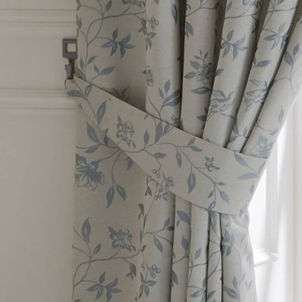 Bird Trail Ready Made Lined Curtains Duckegg