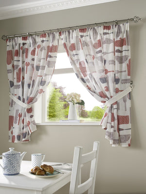 Bistro Kitchen Curtains Red