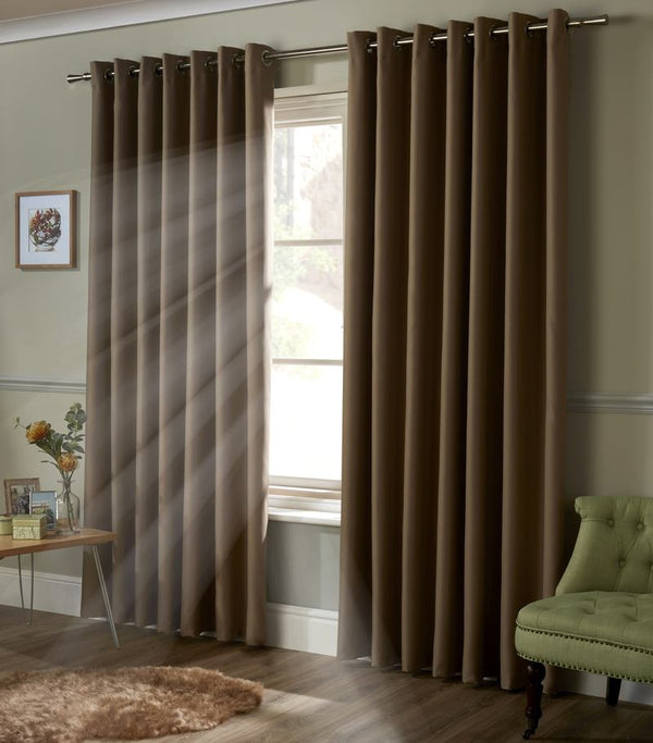 Blackout Ready Made Eyelet Curtains Beige