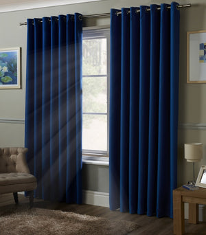 Blackout Ready Made Eyelet Curtains Blue