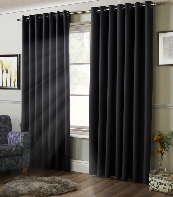 Blackout Ready Made Eyelet Curtains Charcoal