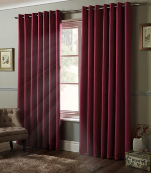 Blackout Ready Made Eyelet Curtains Raspberry