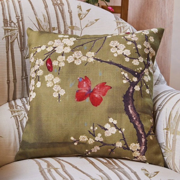 The Chateau - Blossom and Butterfly Bedding Set Basil Ochre