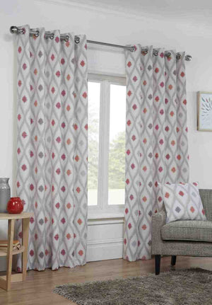 Bordeaux Ready Made Lined Eyelet Curtains Crimson