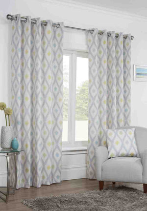 Bordeaux Ready Made Lined Eyelet Curtains Duck Egg