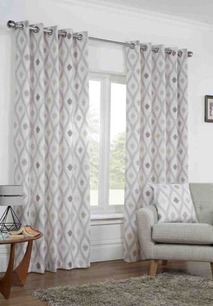 Bordeaux Ready Made Lined Eyelet Curtains Natural