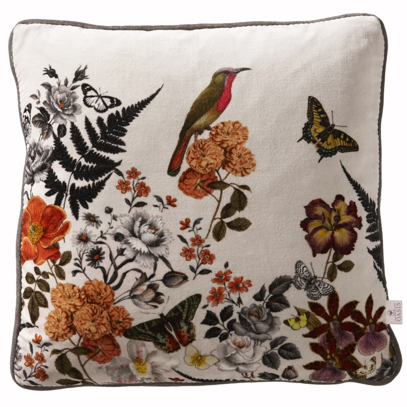 Clarke and Clarke Cushions and Throws Oasis - Botanical Filled Cushion Indigo