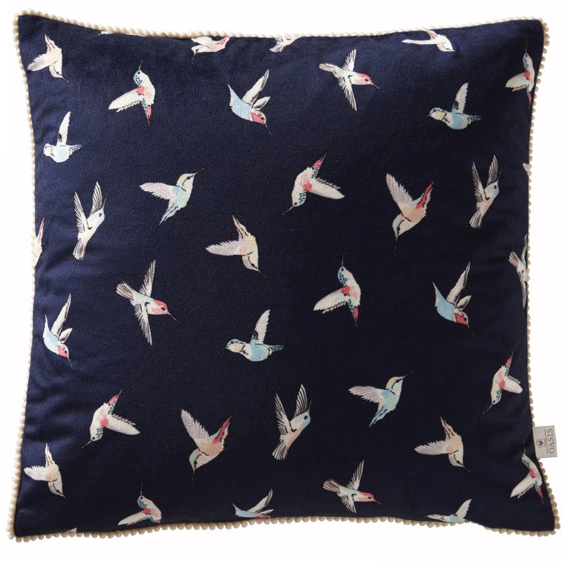 Clarke and Clarke Cushions and Throws Oasis - Botanical Hummingbird Filled Cushion Indigo