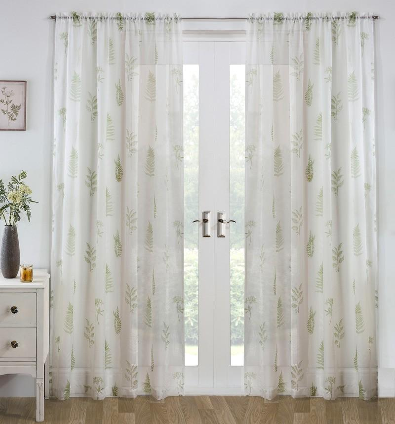Tyrone Ready Made Curtains  Bracken Voile Panel Green