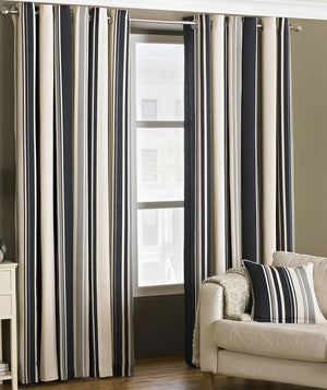 Broadway Readymade Lined Eyelet Curtains Black