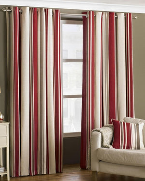 Red Striped Curtains   UK Delivery On Curtains   Terrys Fabrics