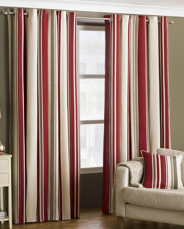 Broadway Readymade Lined Eyelet Curtains Raspberry