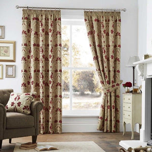 Burford Luxury Ready Made Fully Lined Curtains Red / Gold