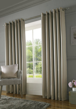Burj Ready Made Lined Eyelet Curtains Mink