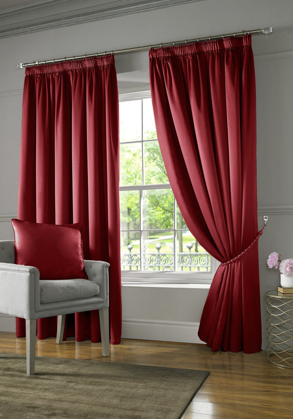 Burj Ready Made Lined Curtains Red