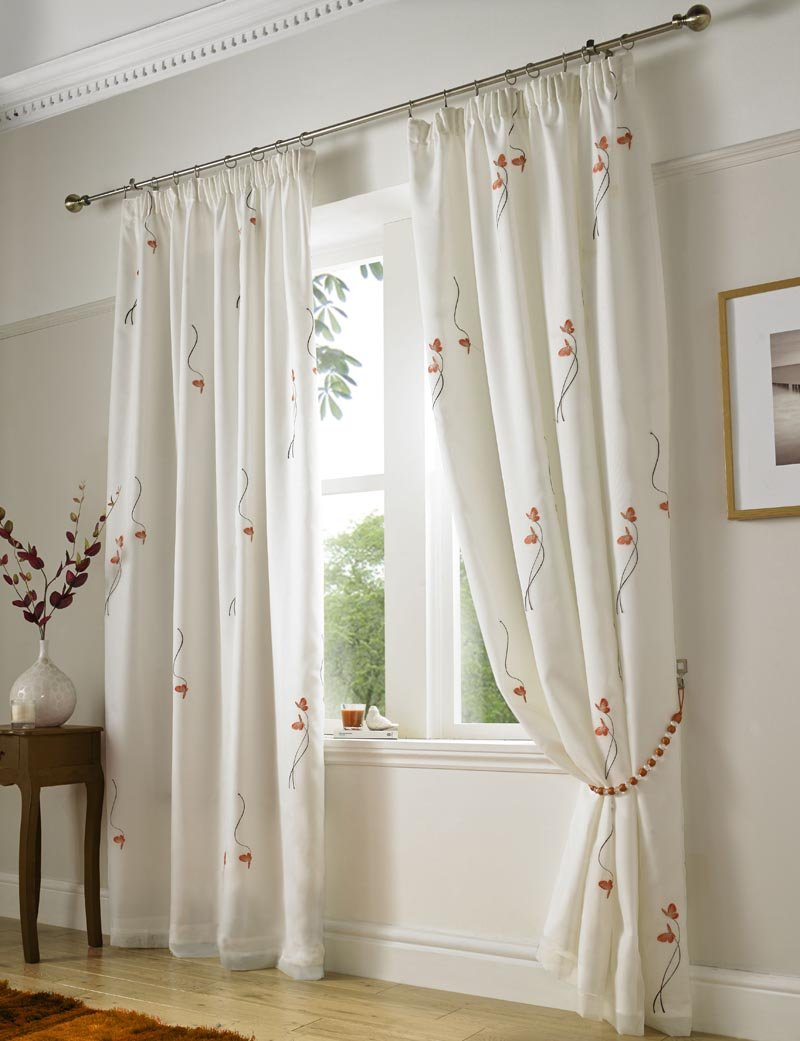 Butterfly Ready Made Lined Voile Curtains Orange