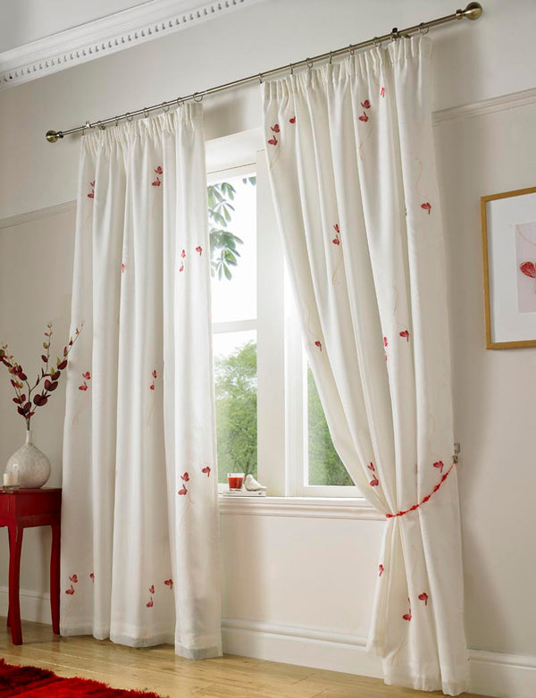 Butterfly Ready Made Lined Voile Curtains Red