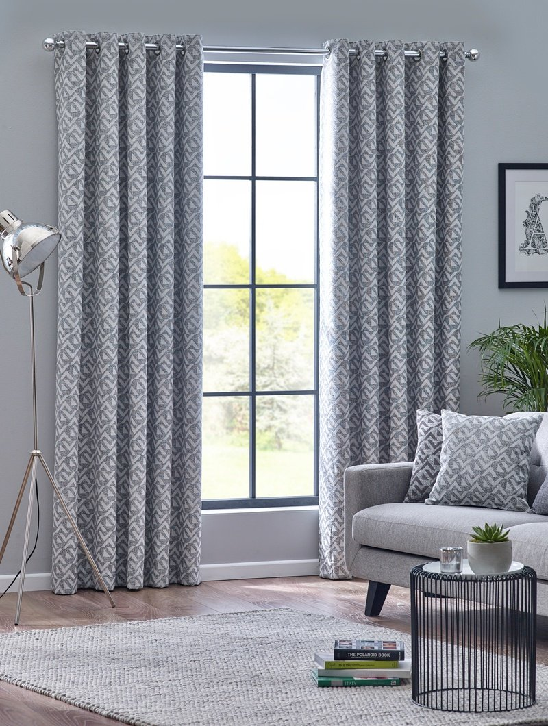 Belfields Ready Made Curtains  Byron Ready Made Eyelet Curtains Monochrome