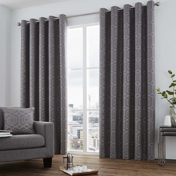Camberwell Ready Made Lined Eyelet Curtains Graphite