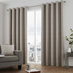 Camberwell Ready Made Lined Eyelet Curtains Stone