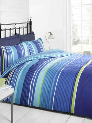Cambridge Stripe Printed Duvet Set Blue