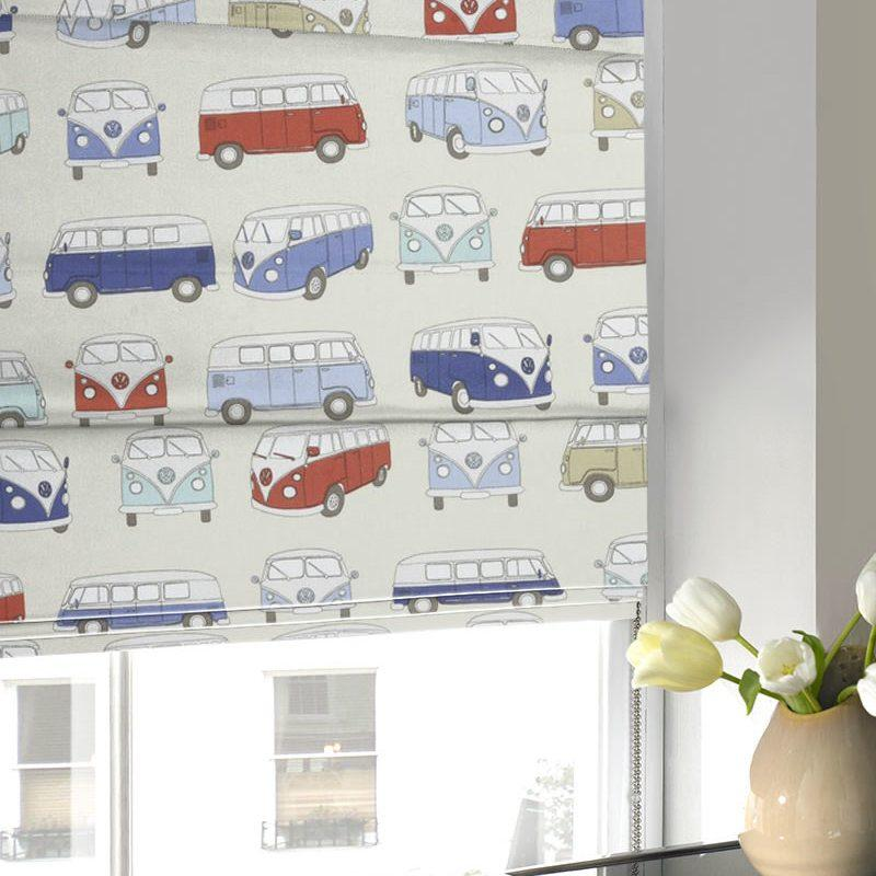 Gordon John Blinds Campervans Roman Blind Blue Picture