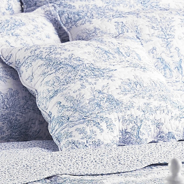 Canterbury Tales Toile De Jouy Cotton Bedding Collection Blue