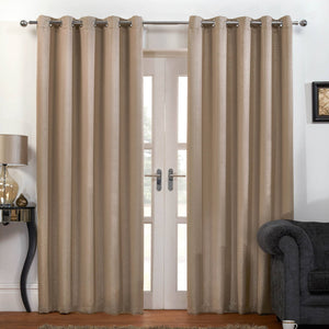 Carbon Thermal Blackout Ready Made Eyelet Curtains Latte