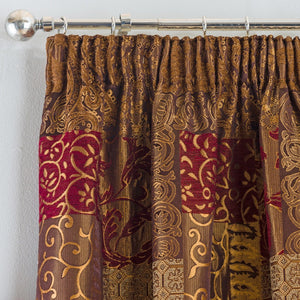 Casablanca Ready Made Lined Curtains Terracotta
