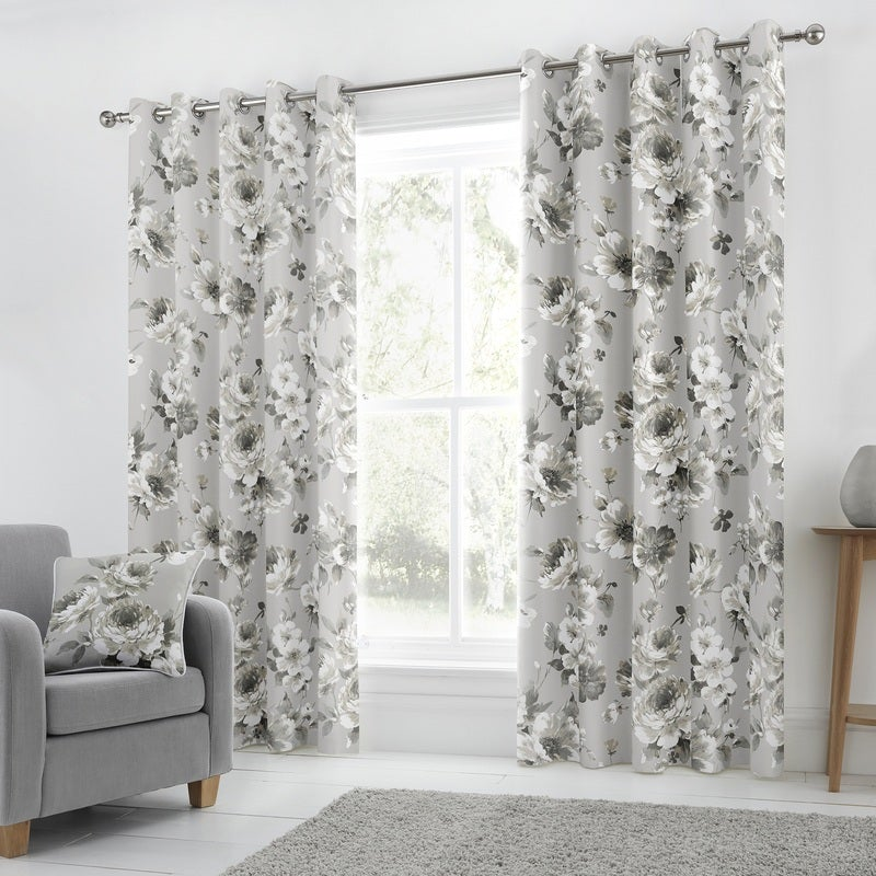 J Rosenthal Ready Made Curtains  Charity Ready Made Lined Eyelet Curtains Grey