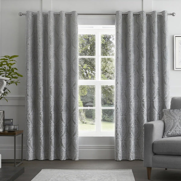 Chateau Ready Made Eyelet Curtains Silver