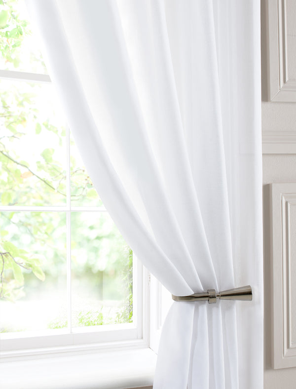 Chatsworth Double Width Voile Curtain Panel White