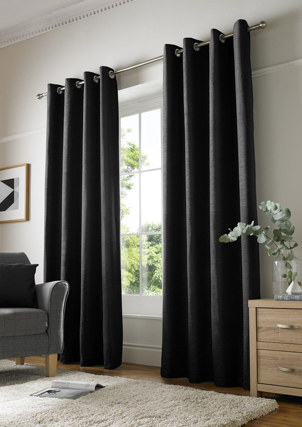 Chenille Plain Ready Made Lined Eyelet Curtains Black