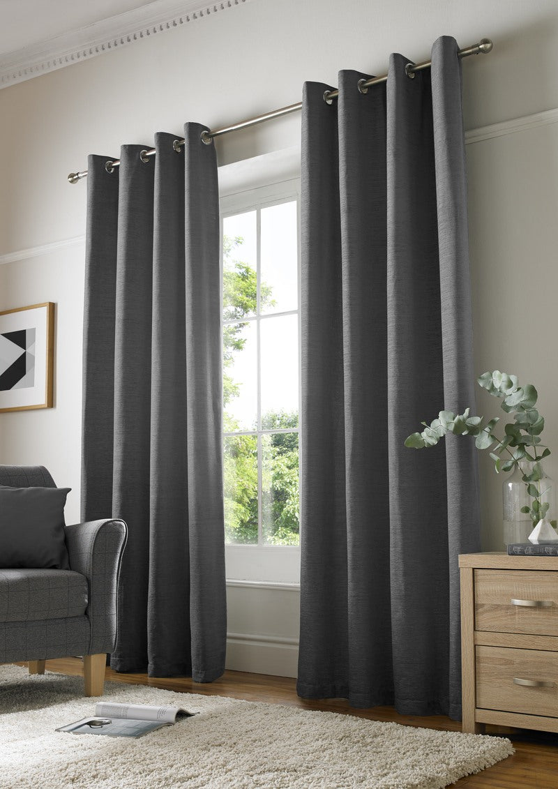 Alan Symonds Ready Made Curtains Chenille Plain Ready Made Lined Eyelet  ... Picture