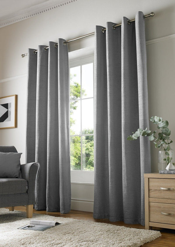 Chenille Plain Ready Made Lined Eyelet Curtains Silver