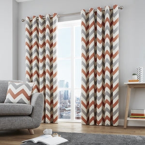 Chevron Ready Made Eyelet Curtains Terracotta