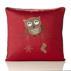 Owl Embroidered Faux Silk Christmas C/Cover